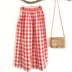 Vintage Woven Cotton Red and White 70s Skirt PC